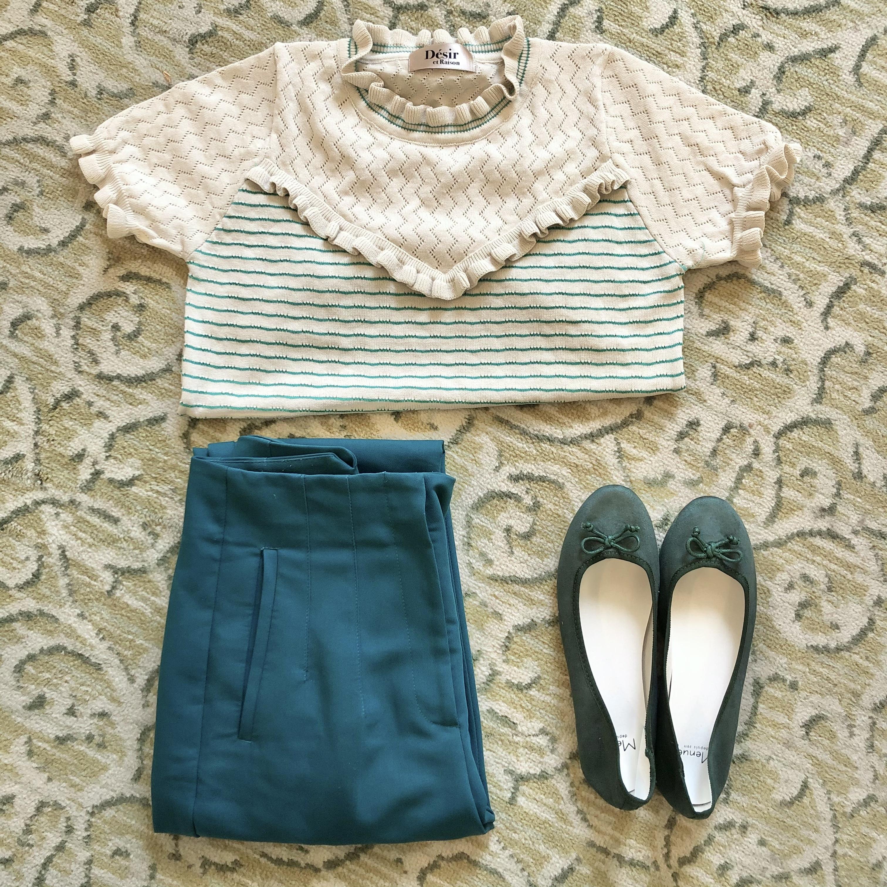 【NEW】【LAST1】v frill border summer knit tops