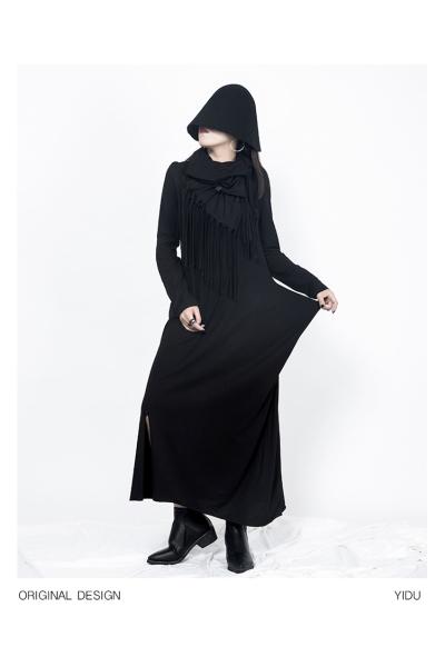 Tシャツドレス シンプル ロング 細め エレガント 黒 スリット