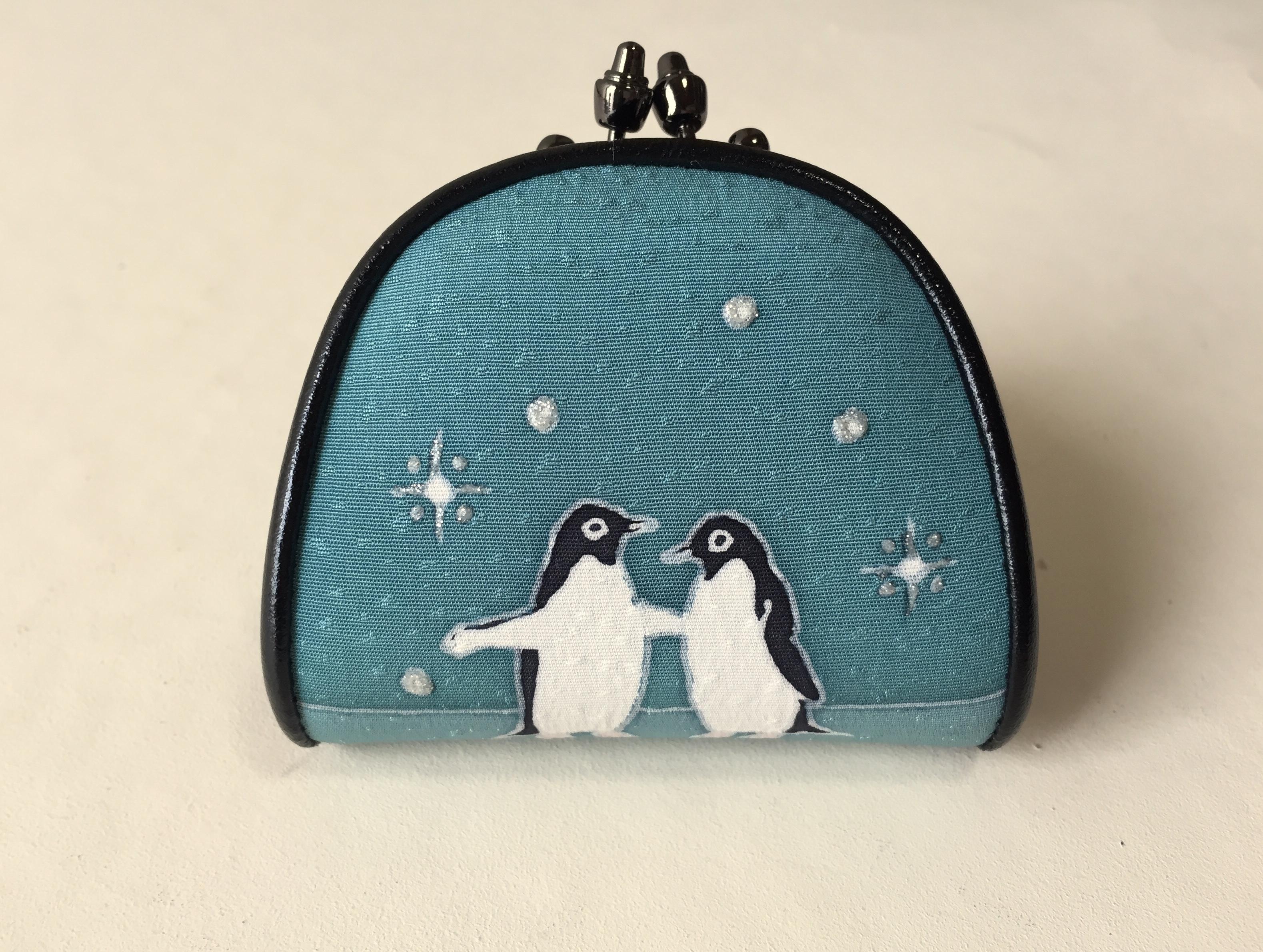 コインケース「ペンギンたち」浅葱色