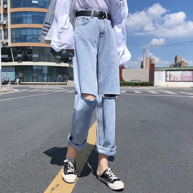 【送料無料】 おしゃれデニム♡ ハイウエスト ダメージ デニムパンツ ジーパン ボーイフレンド パンツ