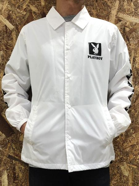 PLAYBOY (プレイボーイ) ロゴプリント コーチジャケット WHITE (ホワイト)