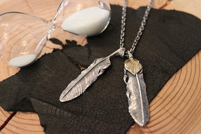 Designers Jewelry buff K18 ハートフェザー付きダブルフェザーネックレス(千年フェザーL1/L2)