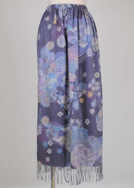 gouk 和柄転写ストールのフリンジ付きスカート GGD26-S338 BL/M