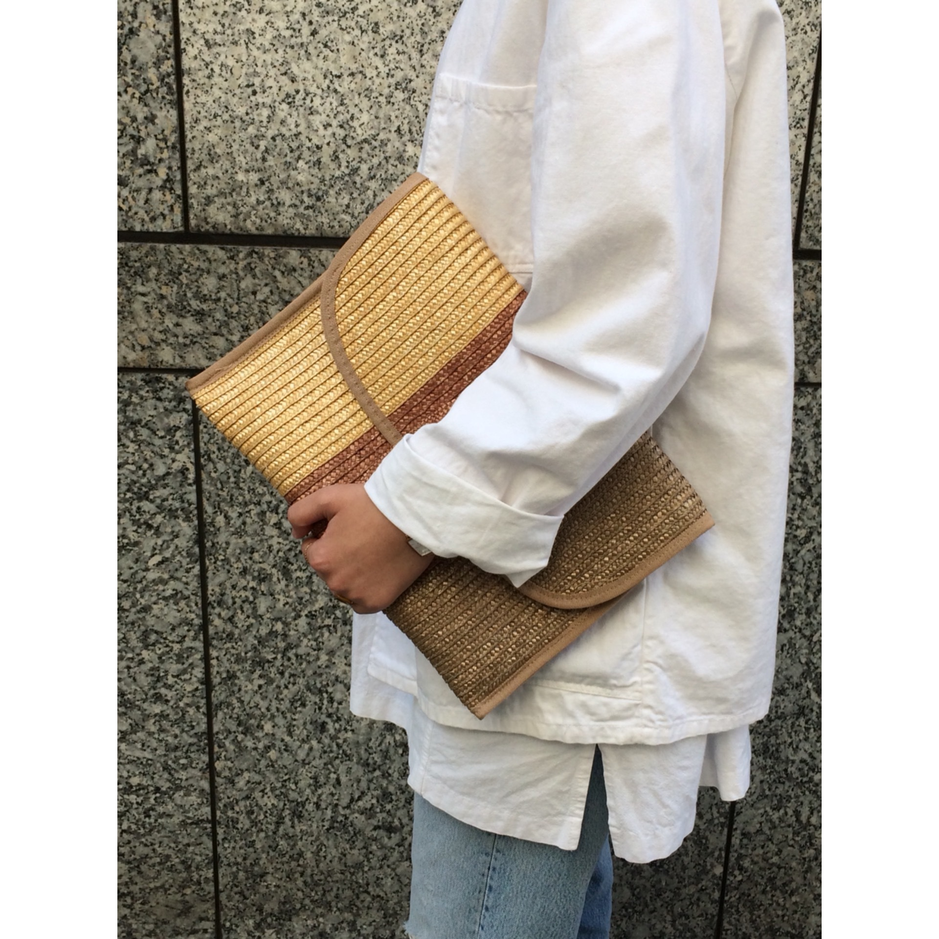 Vintage straw clutch bag