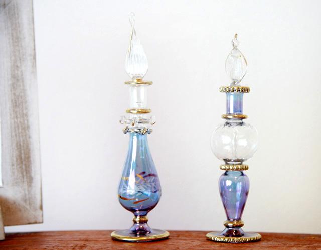 エジプト切子香水ボトル★ブルー
