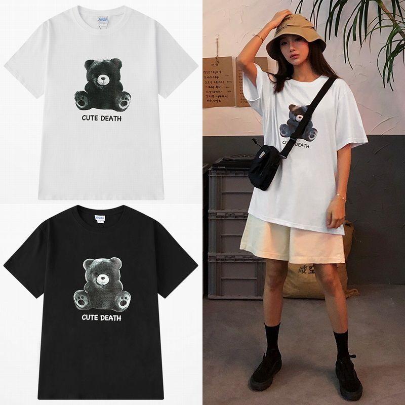 ユニセックス 半袖 Tシャツ メンズ レディース 英字 CUTE DEATH ベアー クマちゃん プリント オーバーサイズ 大きいサイズ ルーズ ストリート