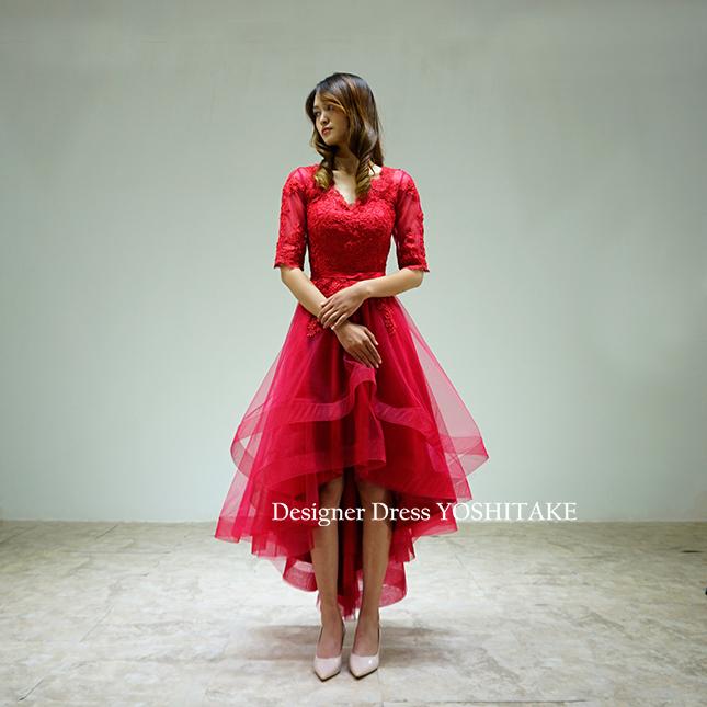 【オーダー制作】ウエディングドレス(無料パニエ) 上半身長袖の赤レースとチュールのミニドレス(ブライダル二次会パーティー用)※制作期間3週間から6週間