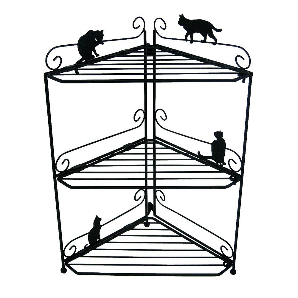 猫ラック(シャンプーコーナーラックネコブラック2段)