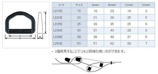 YKK LD30E プラスチック Dカン 黒 2個入り