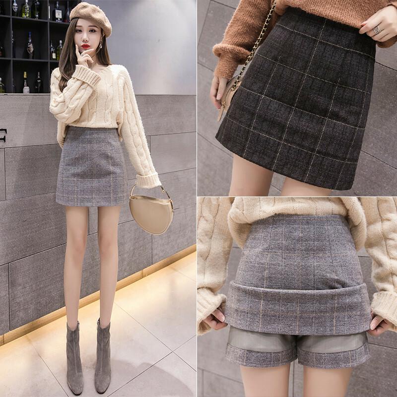 【送料無料】 大人可愛い ミニスカ ♡ チェック柄 パンツ付き ミニ丈 タイト 台形 スカート