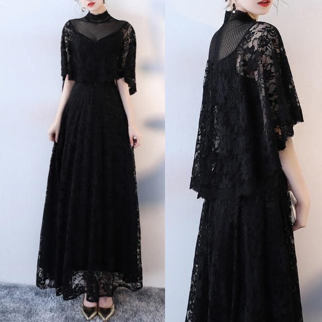 総花柄レース ブラック ロングドレス ワンピース ハイネック