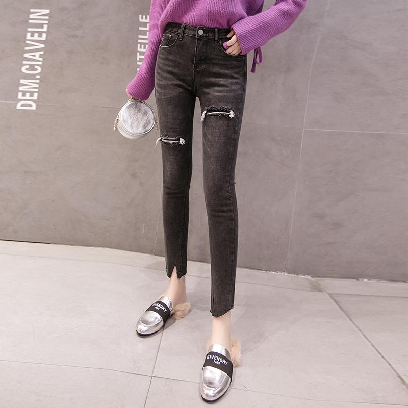 【bottoms】 着痩せハイウエストファッションデニムパンツ26990232