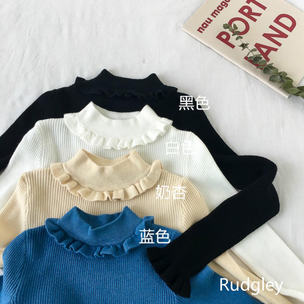 フリルネック長袖カジュアルニットセーター