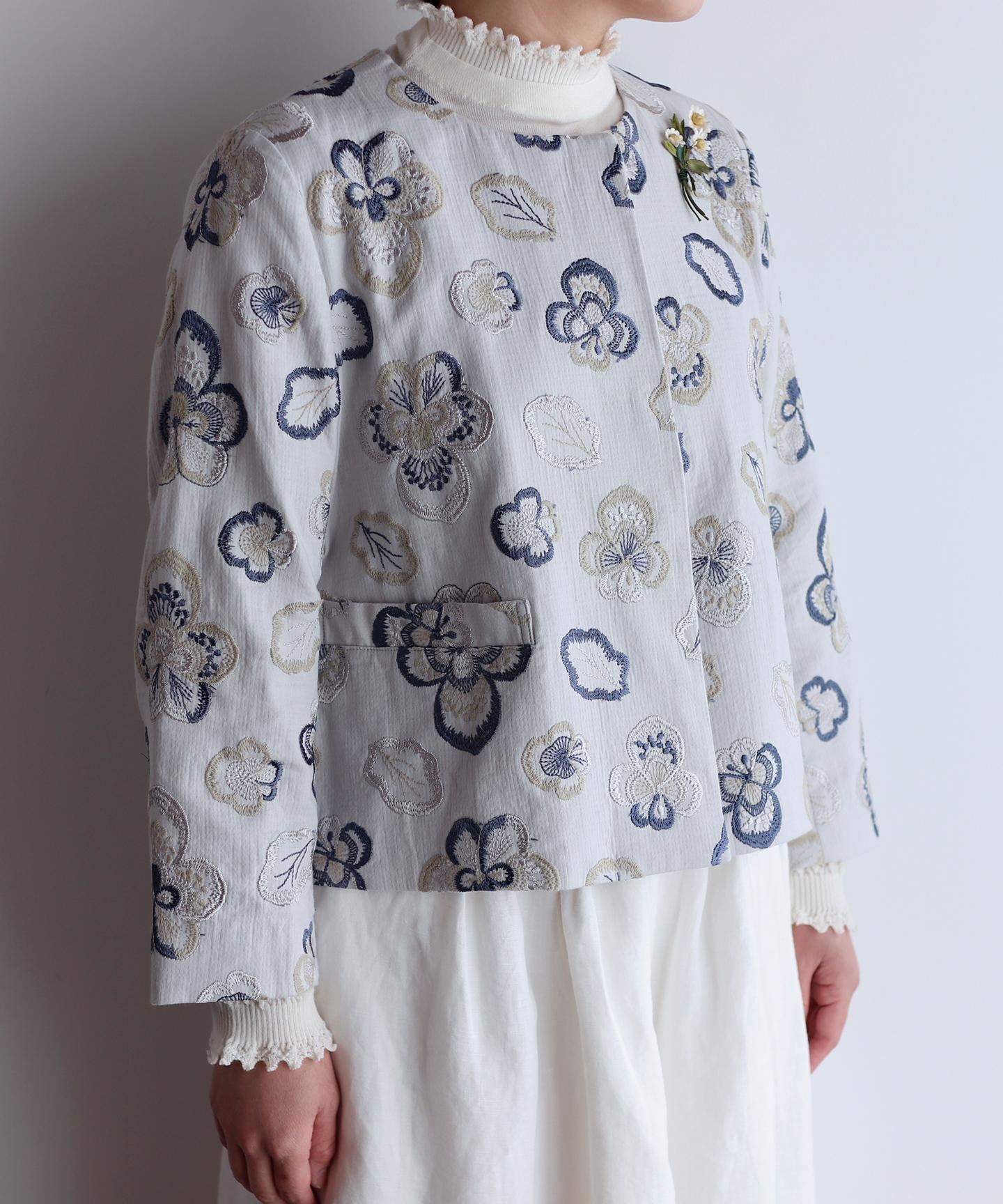 ビオラ刺繍のジャケット(mub501)