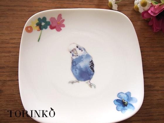 インコとお花 セキセイインコの皿