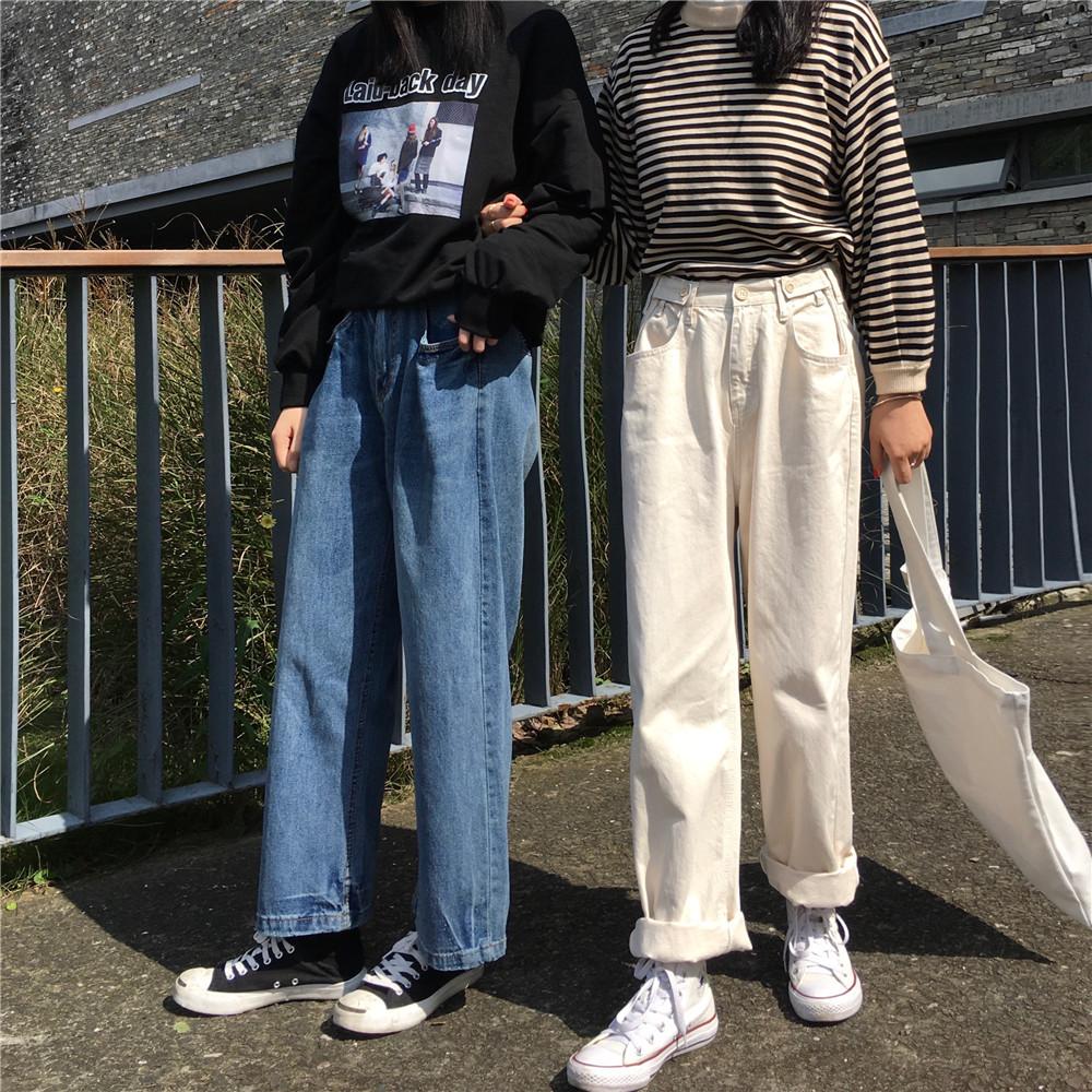 【即納】【送料無料】程よいルーズ感♡ デニム ストレートパンツ ワイド