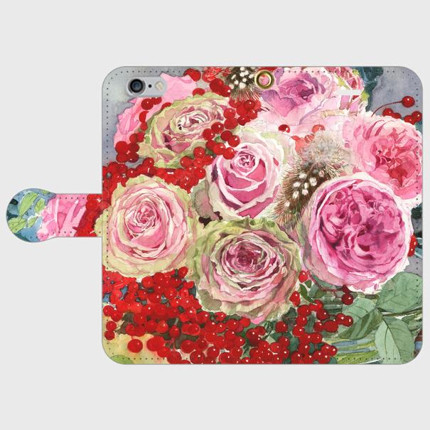 秋のピンクバラとコンバクター 手帳型スマホケース iphone7他小さいサイズ