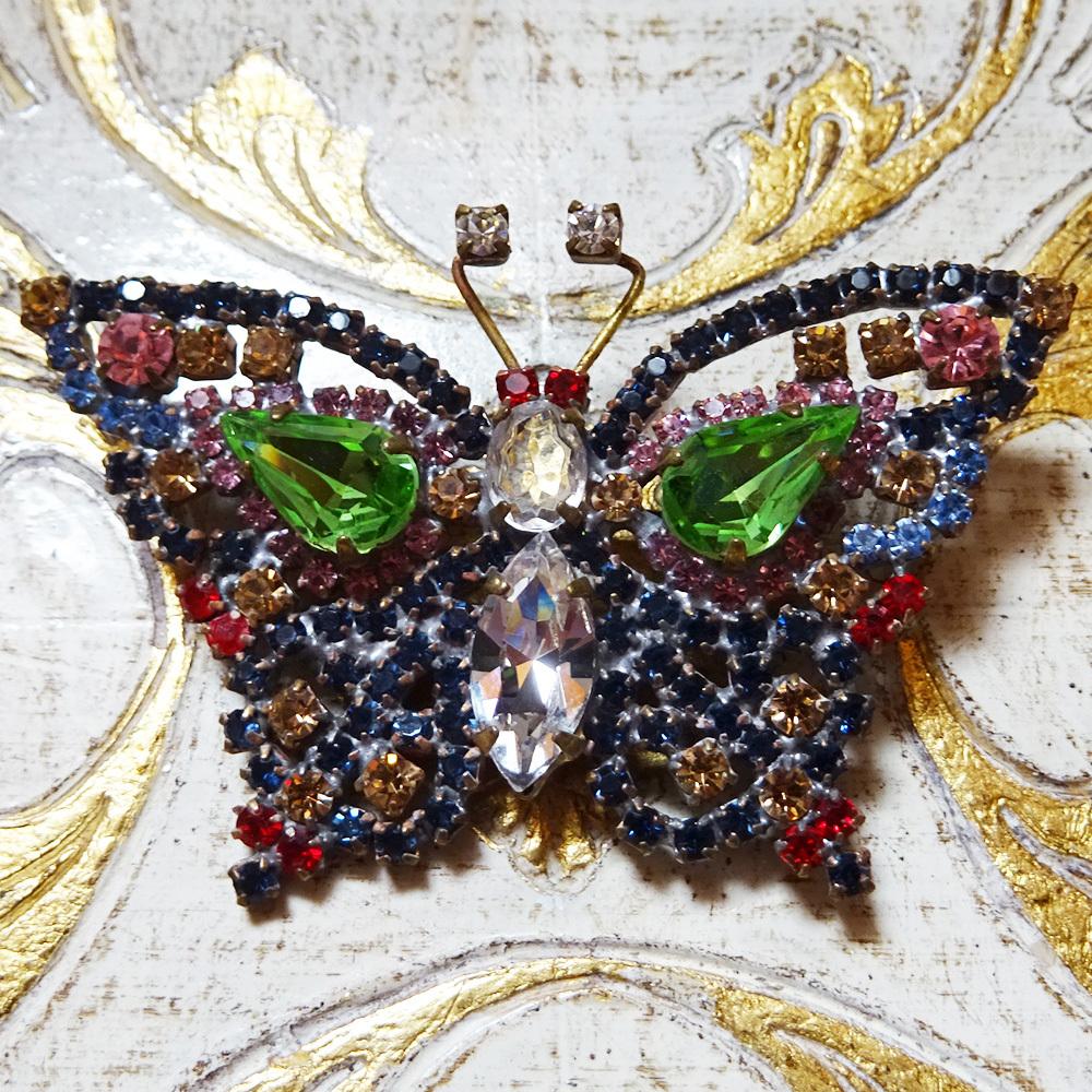 チェコ 蝶のビジューブローチ / グリーン
