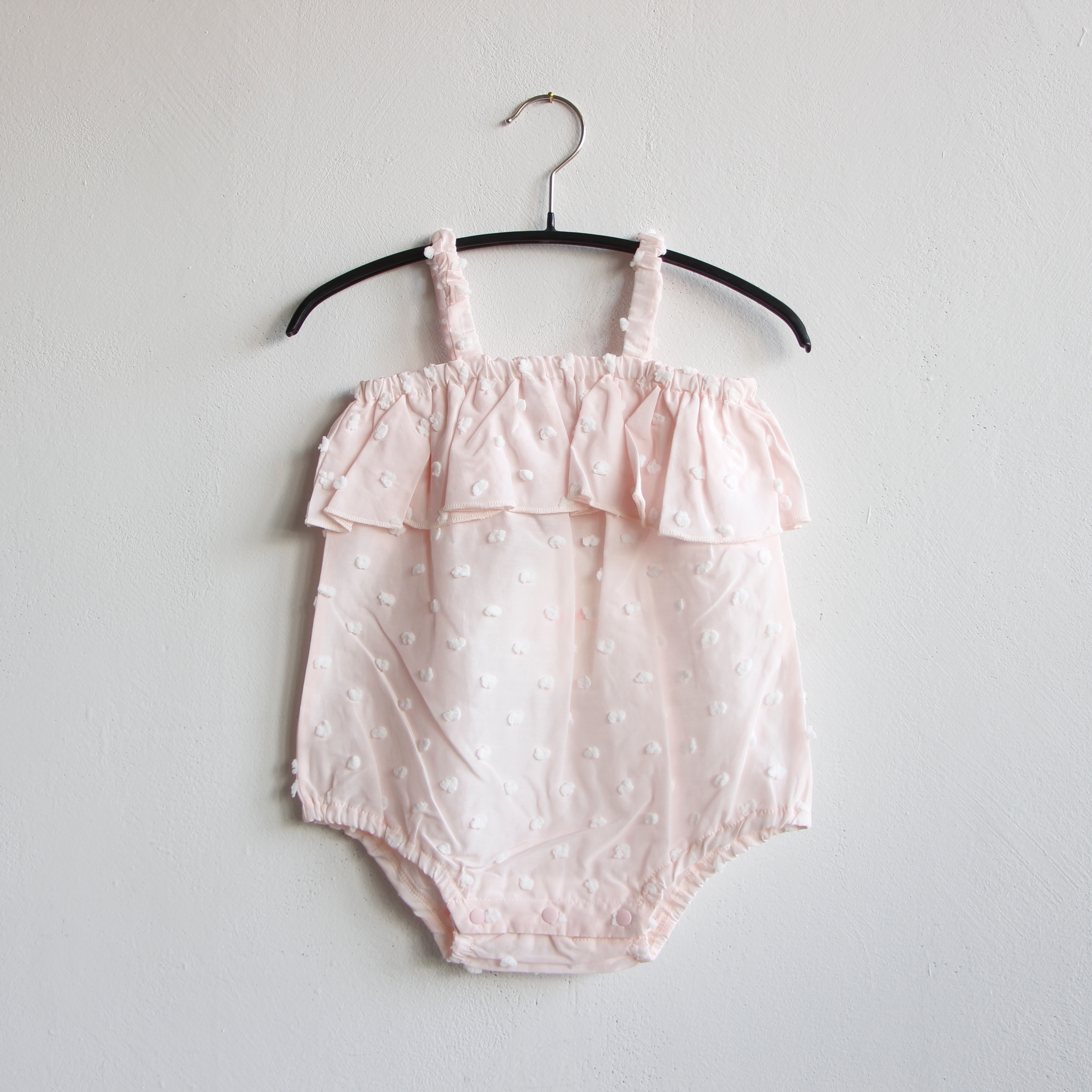 《frankygrow 2020SS》BONBON CUT JQ CAMISOLE GATHER BODY / pink × beige bonbon / 70・80cm