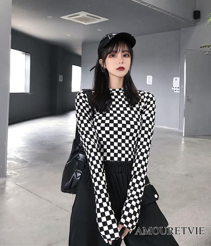 2019 秋 レディース 新作 トップス Tシャツ 長袖 白黒 チェック柄 レトロ オルチャン 韓国ファッション 921