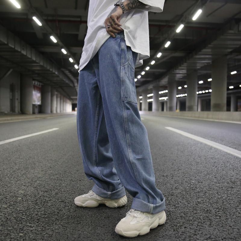 深裾 デニムパンツ オーバーサイズ 韓流スタイル 春物パンツ