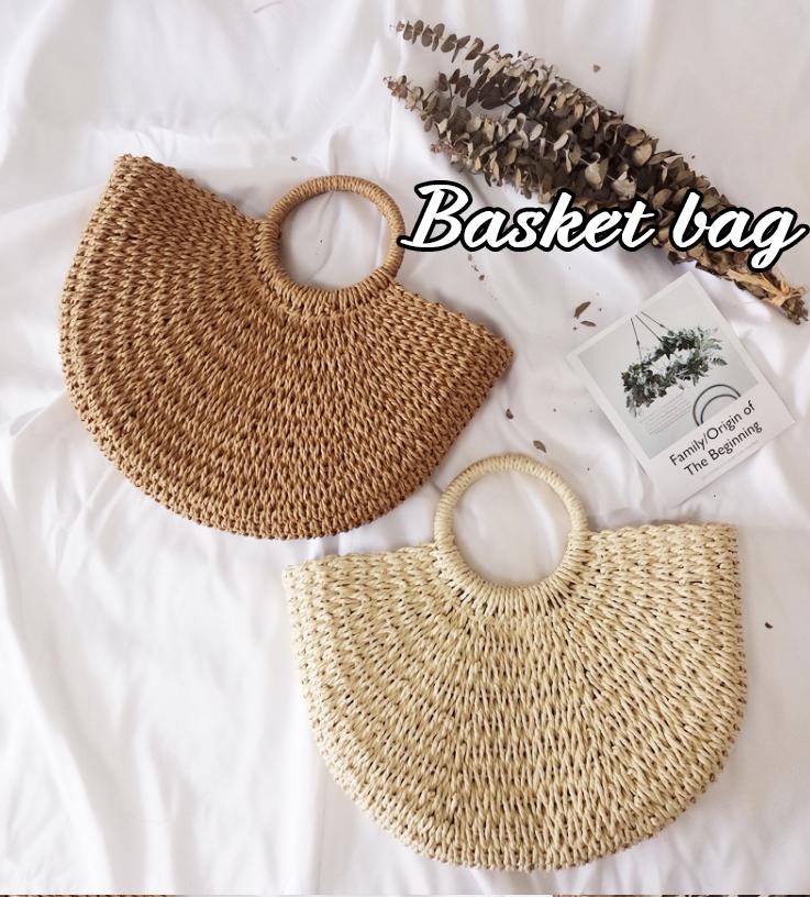 かごバッグ 大容量 草編みバッグ レディース トート ハンドバック おしゃれ 肩掛け 籐のかごバッグ カゴバッグ 安い 丸型 ハンドバッグ