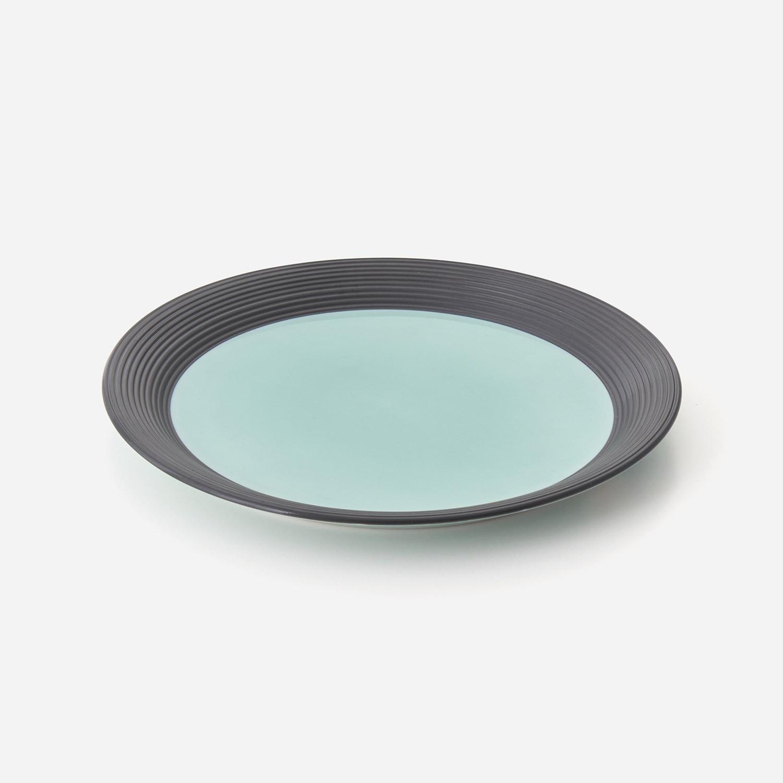 青磁黒彩 8寸プレート皿