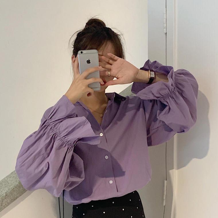 【送料無料】 袖デザインが魅力♡ 大人可愛い 春カラー ボリューム袖 キャンディースリーブ カラー シャツ トップス