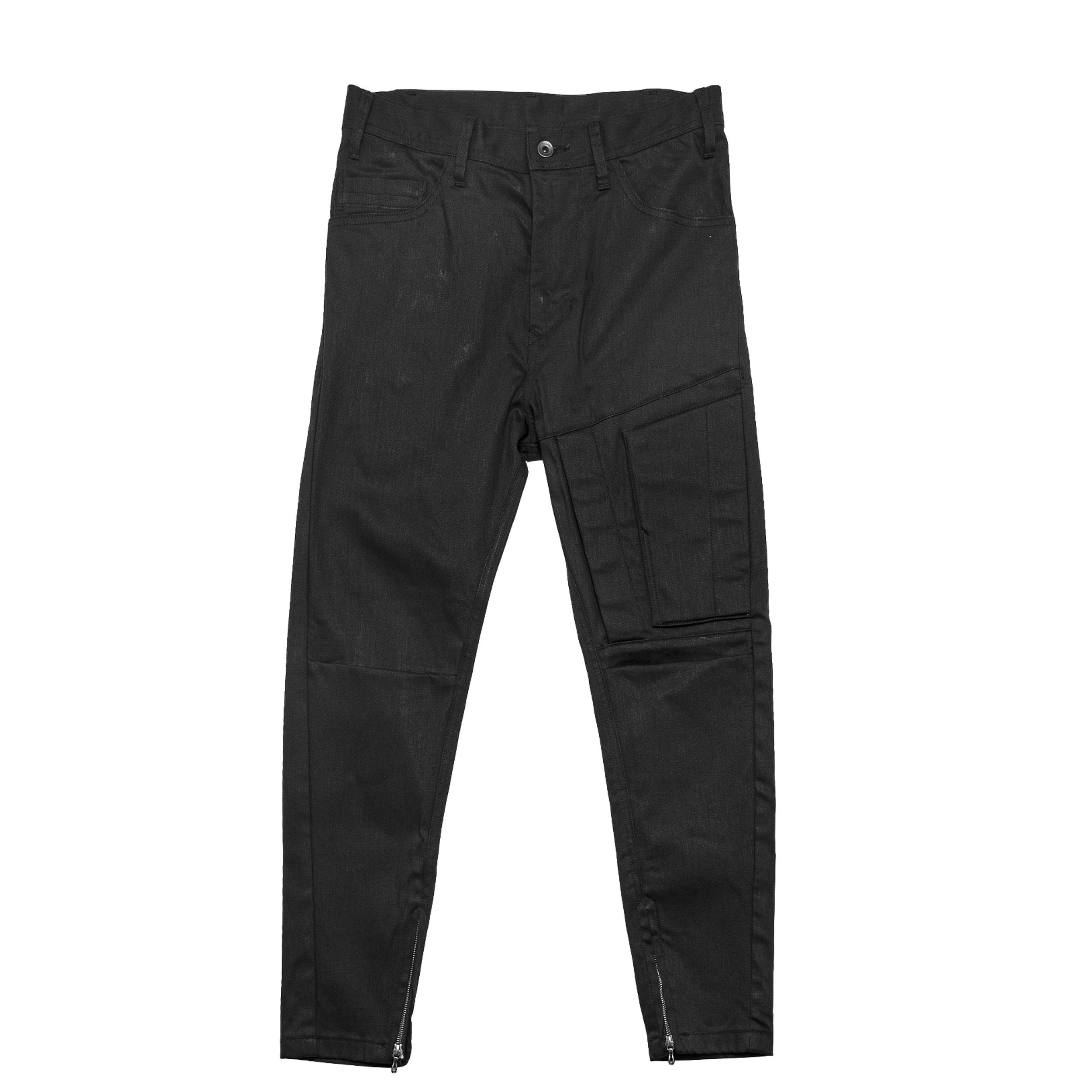 677PAM13-BLACK / レイヤードレッグポケットパンツ