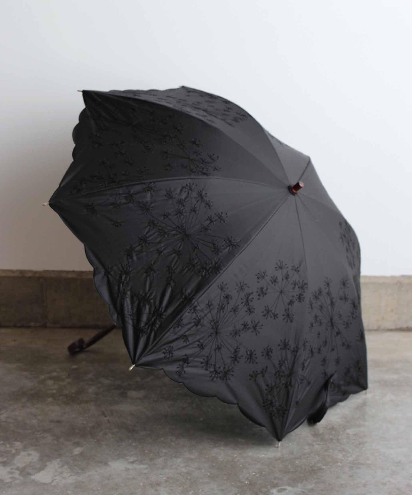 【フェンネル花刺繍】雨天兼用日傘 ブラック