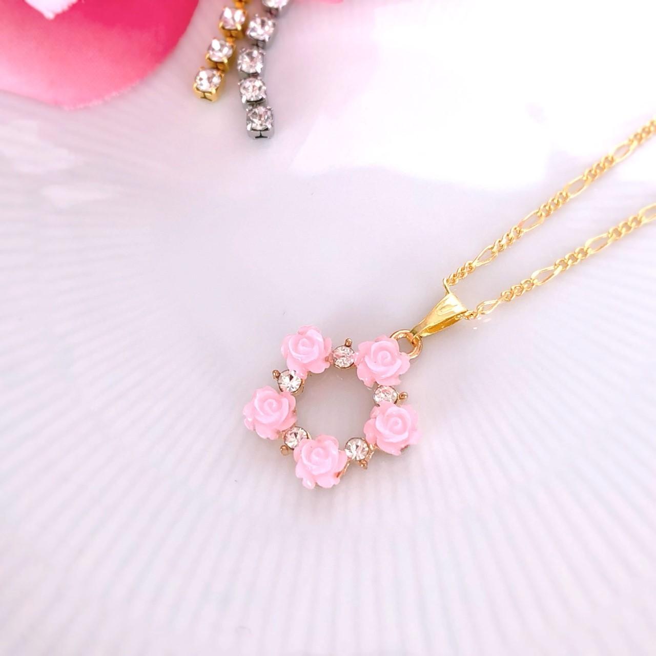 【aoi】バラのラウンドネックレス(ピンク)p1301001