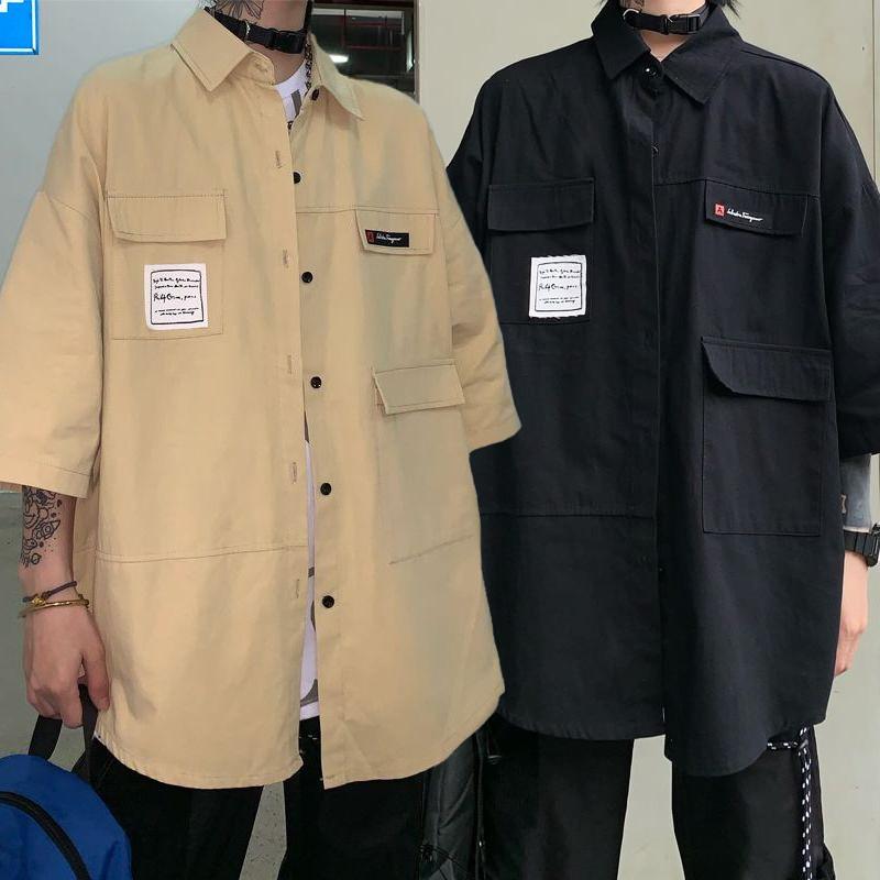 ユニセックス シャツ 半袖 メンズ レディース ポケット ワークシャツ オーバーサイズ 大きいサイズ ルーズ ストリート