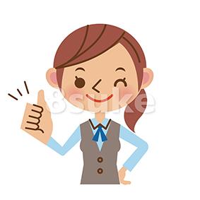 イラスト素材:グッドサインをするOL・事務職の女性(ベクター・JPG)