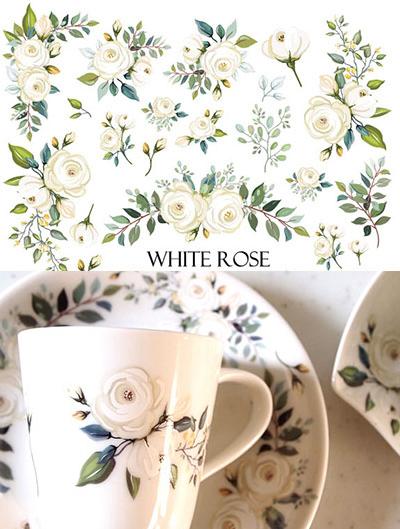 WhiteRose ホワイトローズ転写紙 A4サイズ(ポーセラーツ転写紙 白い薔薇・バラ)