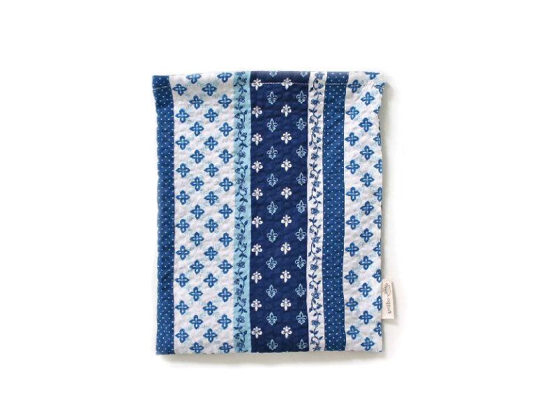 ハリネズミ用寝袋 M(夏用) 綿リップル×スムースニット パッチワーク柄 ブルー