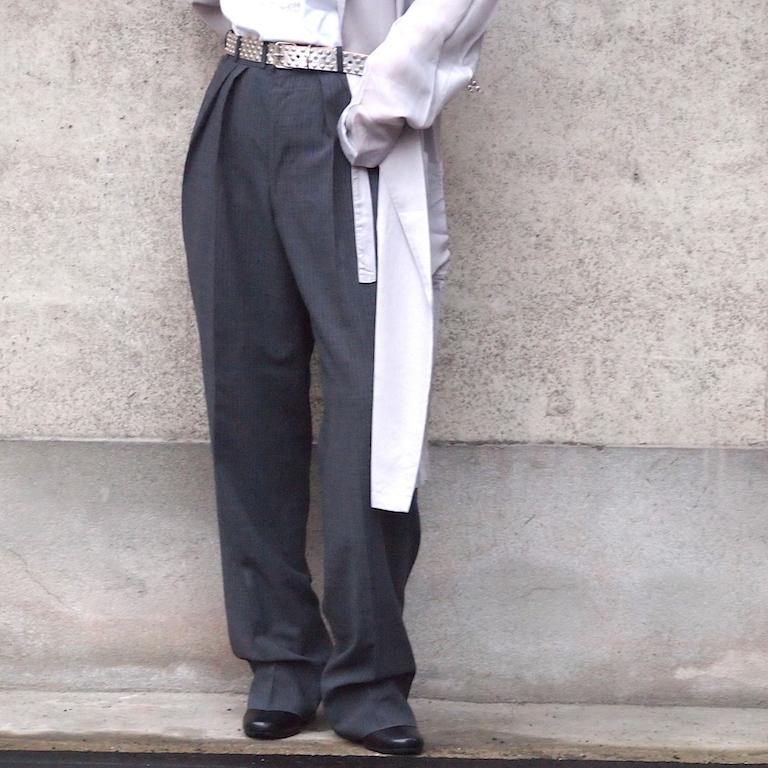 【sandglass】sack coat (stripe tuck pants)/ 【サンドグラス】サック コート(ストライプ タック パンツ)
