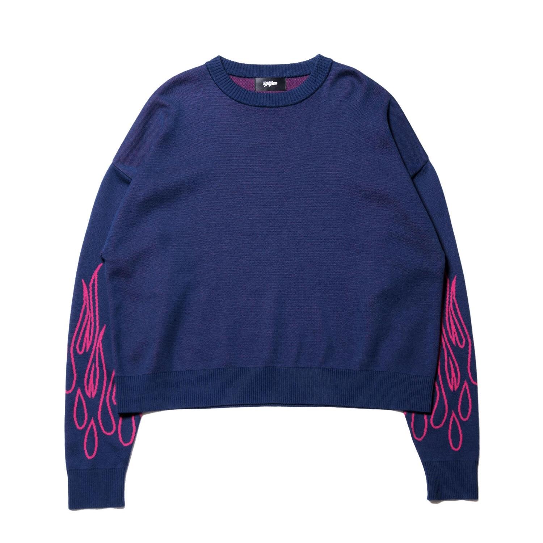 Fire knit pullover / NAVY - 画像1
