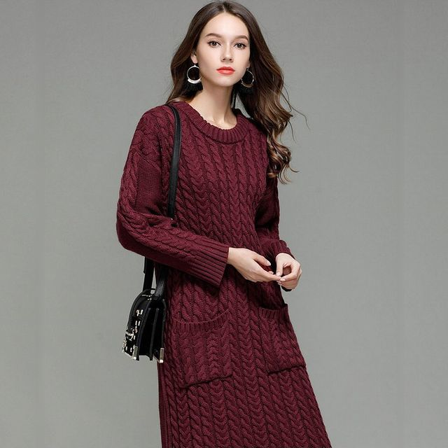 06247125f5d62 クラシックツイストパターンルーズセーターロングワンピース / Women Long Length Classic Twisted Pattern  Loose Sweater Dress (DCT-576557505405). ¥ 4,300