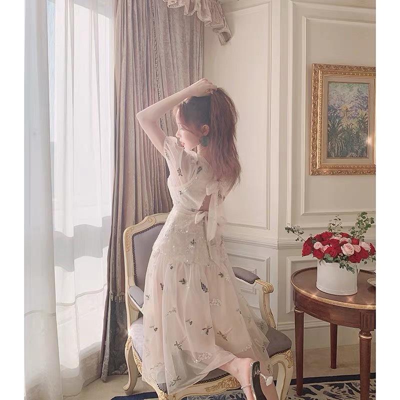 glitter back ribbon dress