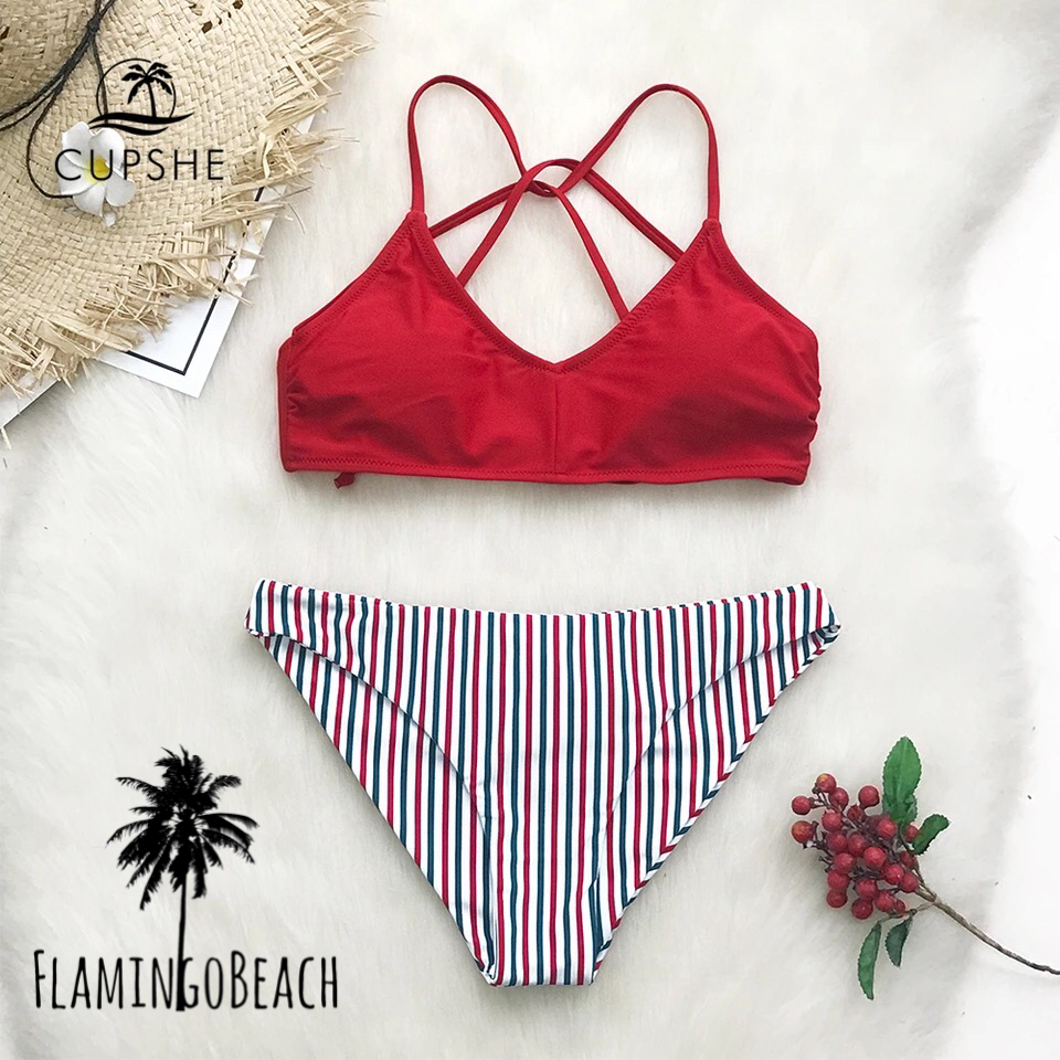 【FlamingoBeach】red stripe bikini ビキニ