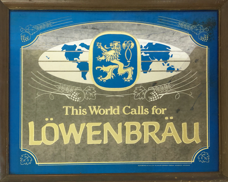 品番6374 パブミラー 『LOWENBRAU(レーベンブロイ)』 ドイツビール ヴィンテージ