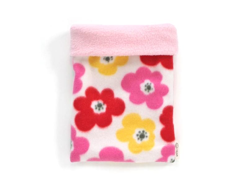 ハリネズミ用寝袋 M(冬用) フリース×フリース フラワー ホワイト