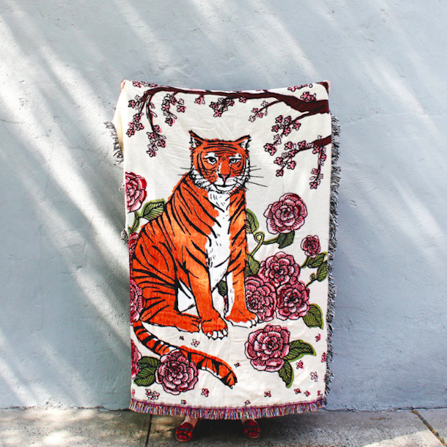 CALHOUN&CO.  TIGER ROSE TAPESTRY BLANKET タペストリーブランケット