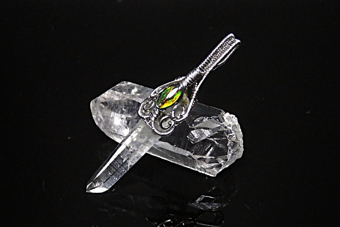 ガネーシュヒマール産水晶&アンモライトペンダント WASPT-246