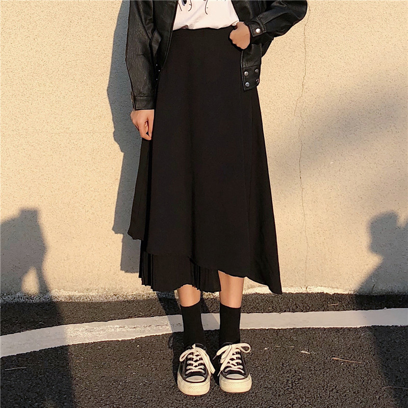 【bottoms】カジュアル無地不規則ハイウエストスカート 15648861