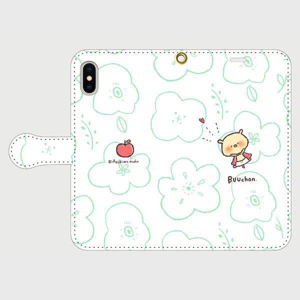 手帳型✿ぶーちゃんと花柄りんご