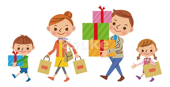 かわいい人物イラスト素材:ショッピングする4人家族(ベクター・JPG)