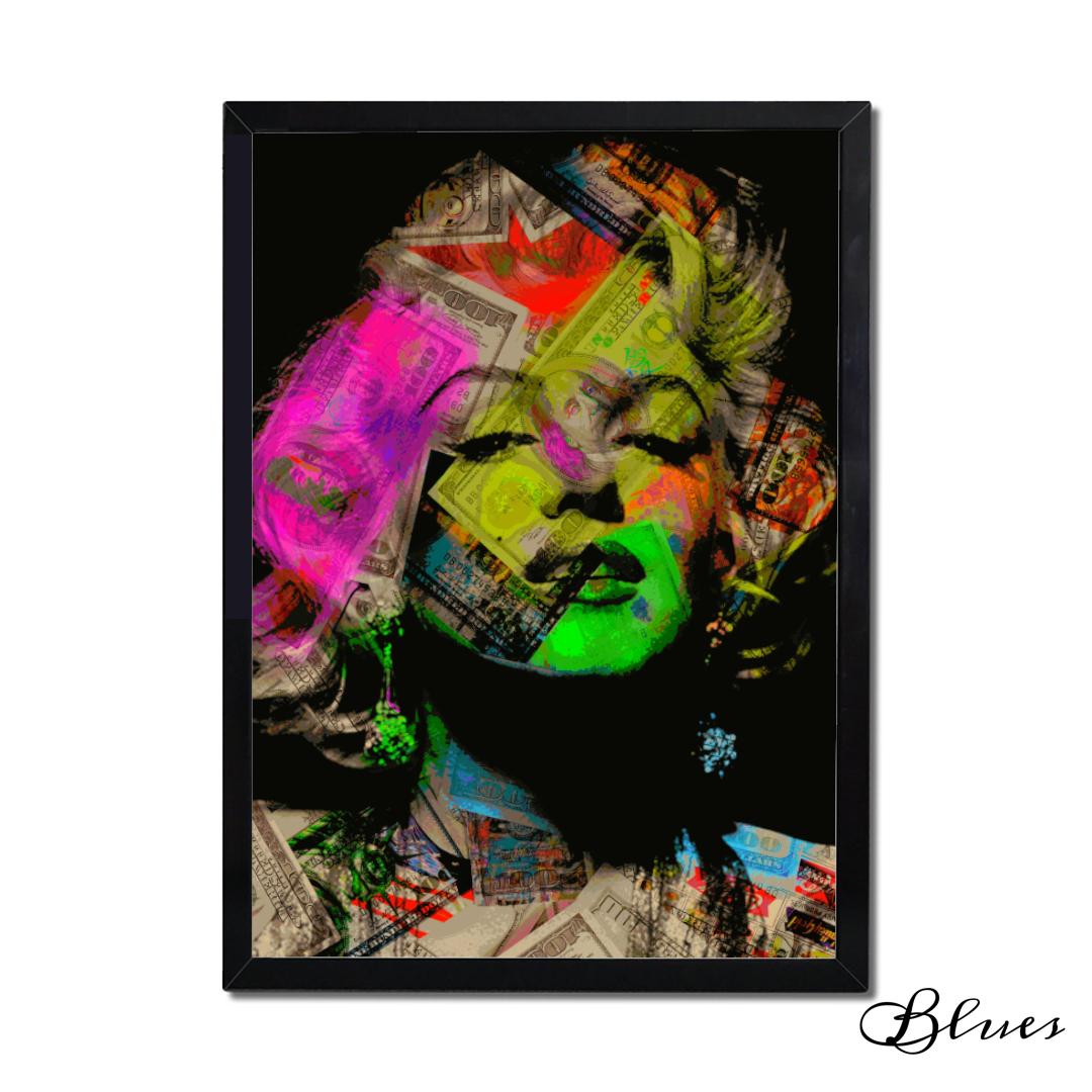 マリリンモンロー ドル札イラスト コラージュアート A1サイズ Blues Make Sense Art Gallery