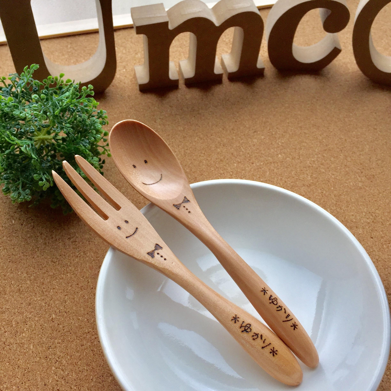 木製おおきいフォークとスプーンセット