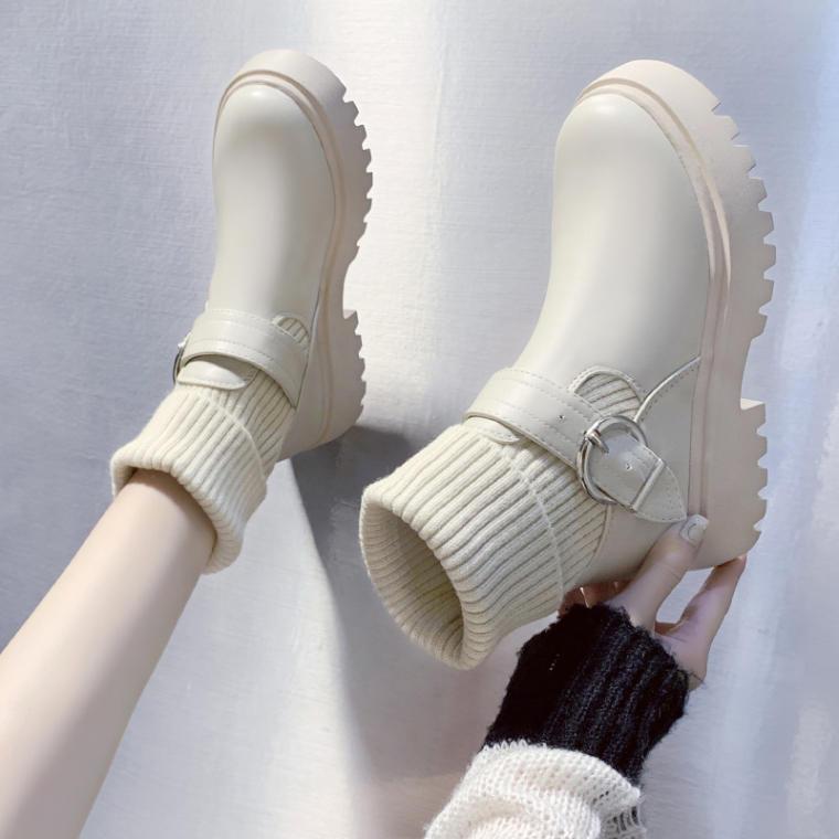 【送料無料】 2wayで履ける♡ ニット ソックス ラウンドトゥ ショート ブーツ 厚底ソール